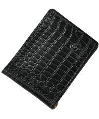 Зажим для денег кожаный Grande Pelle Croco черный