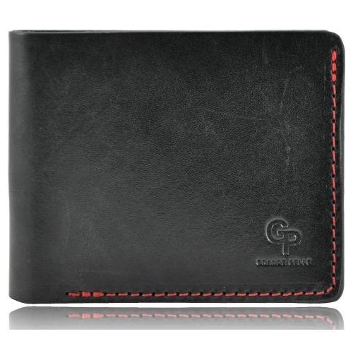 Мужской кошелек кожаный Grande Pelle 50511060 на магните черный с красным