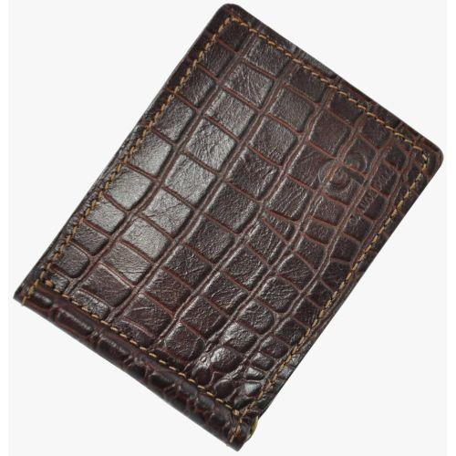 Зажим для денег кожаный Grande Pelle Croco коричневый