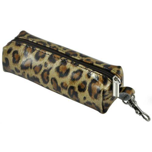Ключница кожаная Poche леопардовая коричневая
