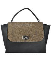 Женская сумка 5115 бежевое кружево черная