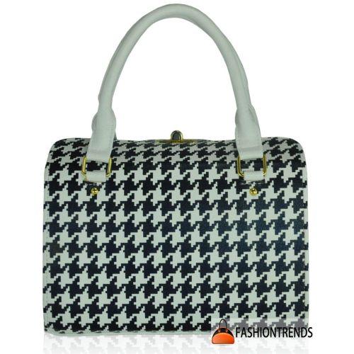 Женская сумка 5413 гусиная лапка белая