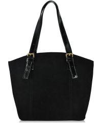 Женская сумка 5915 лак с замшей черная