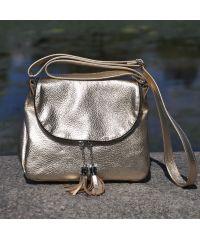 Кожаная сумка Lorenza золотая
