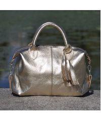 Кожаная сумка Барселона золотая