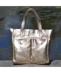 Кожаная сумка с карманами золотая