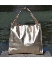 Кожаная сумка Mesho золотая