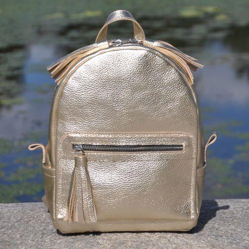 Кожаный рюкзак Meri золотой
