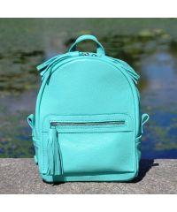 Кожаный рюкзак Meri бирюзовый
