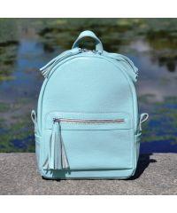 Кожаный рюкзак Meri голубой