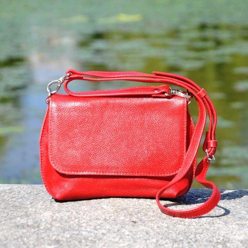 Женский кожаный клатч Crossbody Midi красный