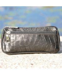 Кожаная косметичка органайзер Crocodile черная