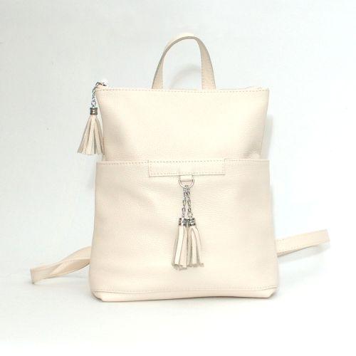 Кожаный рюкзак-сумка Альфано бежевый
