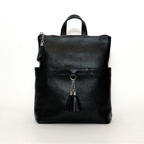 Кожаный рюкзак-сумка Альфано черный