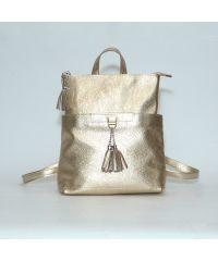 Кожаный рюкзак-сумка Альфано золотой