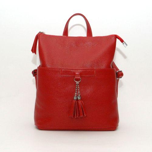 Кожаный рюкзак-сумка Альфано красный