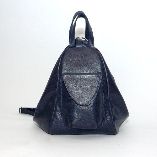 Кожаный рюкзак трансформер Асти темно-синий