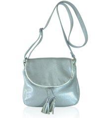 Кожаная сумка Lorenza серебристая
