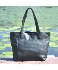 Женская кожаная сумка со строчками черная