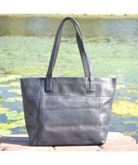 Женская кожаная сумка со строчками синяя