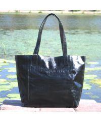 Женская кожаная сумка со строчками Crocodile черная