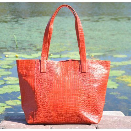 Женская кожаная сумка со строчками Crocodile ярко красная