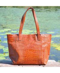 Женская кожаная сумка со строчками Crocodile рыжая