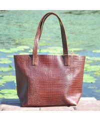 Женская кожаная сумка со строчками Crocodile коричневая