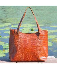 Женская кожаная сумка классическая Crocodile коричневая