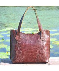 Женская кожаная сумка классическая Crocodile шоколадная