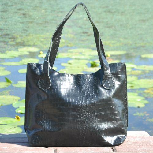 Женская кожаная сумка классическая Crocodile черная