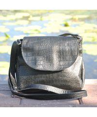Женский кожаный клатч кросбоди Crocodile черный