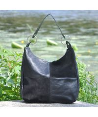 Женская кожаная сумка borsa velour черная