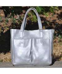 Кожаная сумка с карманами серебристая