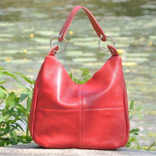 Женская кожаная сумка borsa красная