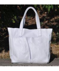 Кожаная сумка с карманами белая