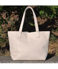 Кожаная сумка со строчками бежевая