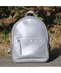 Кожаный рюкзак Meri серебристый