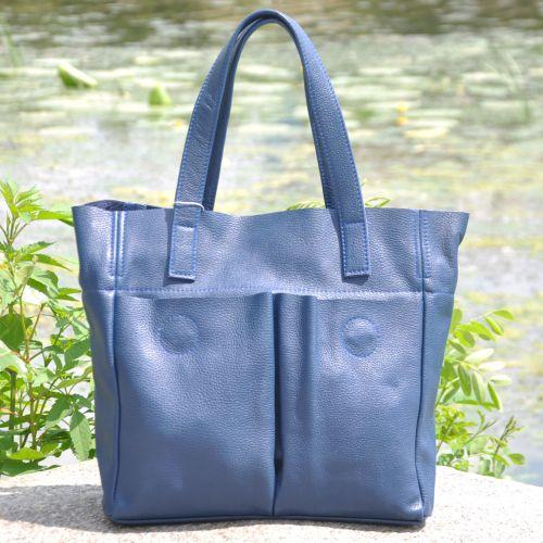 Женская кожаная сумка с карманами синяя