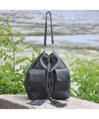 Женская кожаная сумка Orebella черная