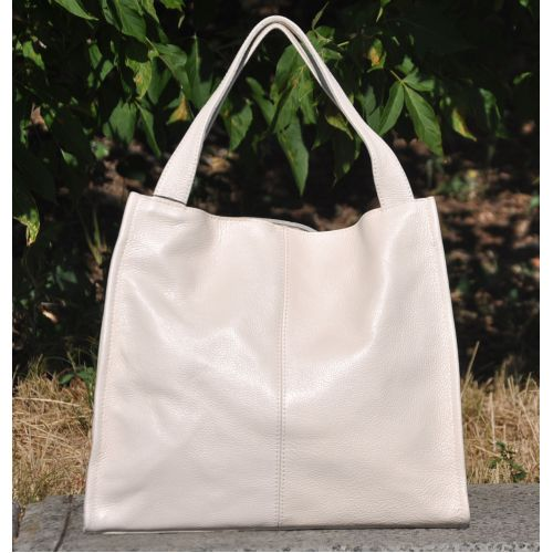 Женская кожаная сумка Mesho бежевая