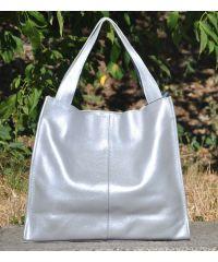 Кожаная сумка Mesho серебристая