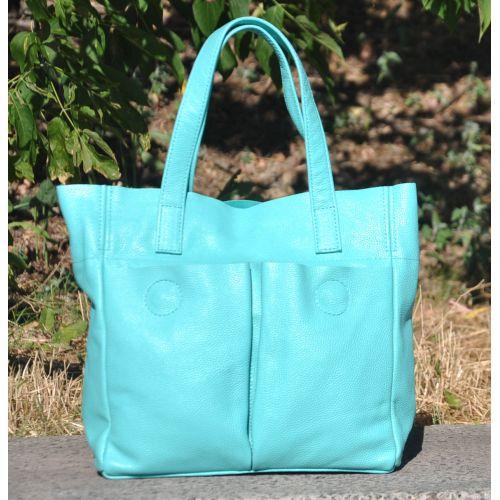 Женская кожаная сумка с карманами бирюзовая