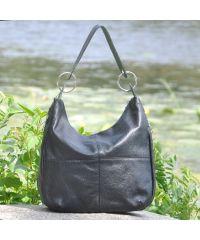 Женская кожаная сумка borsa черная