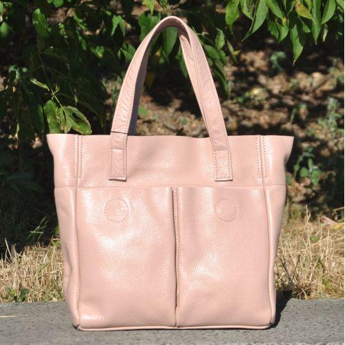 Кожаная сумка с карманами пудра