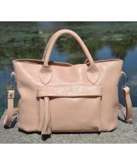Кожаная сумка Dora пудровая