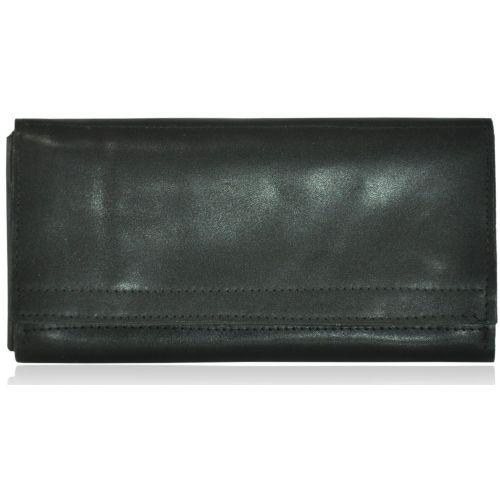 Кожаный клатч-кошелек ku-21 черный