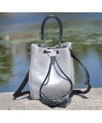 Кожаная сумка Mira серебристая