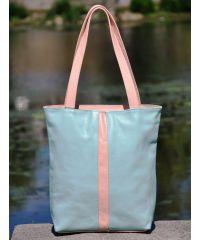 Кожаная сумка Spring голубая