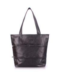 Женская кожаная сумка Poolparty choice-black черная